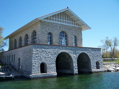 Rock Island boathouse was built by wealthy inventor Chester Thordarson. In 1920 he began construction of a summer estate, including the large boathouse decorated with Norse characters. It is open to the public.