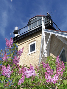 Lilac time at Eagle Bluff Lighthouse. Peninsula State Park, Door County, Wisconsin