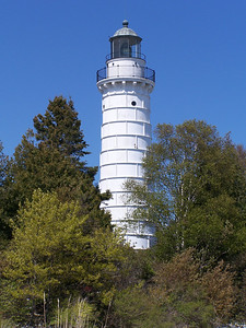 Cana Island Lighthouse as seen from the shore.