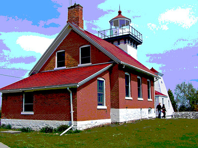 Sherwood Point lighthouse in Door County, WI. (This picture has been posterized for a different effect)