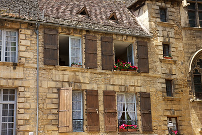 Sarlat Windows.  All the homes are made of stone.