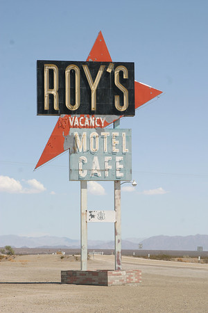 Roy's business now consists entirely of selling bottled water to Route 66 sojourners.