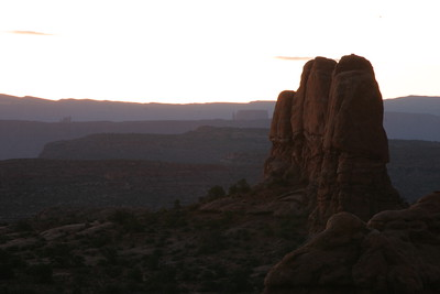 Arches National Park at dawn. Moments later, it was hot.  Powerful hot.