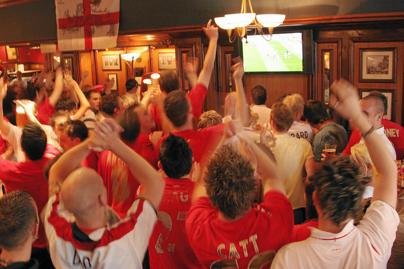 World cup mania in the pubs.