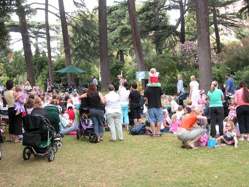 Fitzroy Gardens, near Cook's cottage<br /> Telling children's stories.