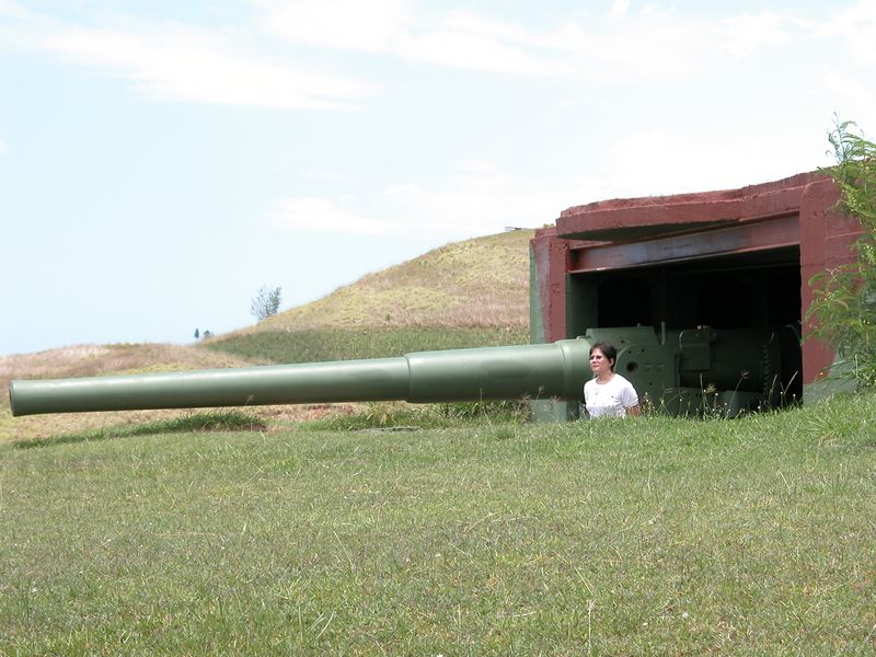 Momai Bay Gun Site.  Used for protection during WW II.