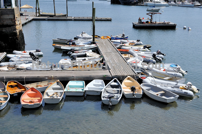 Dinghies to get to boats in Rockland harbor.