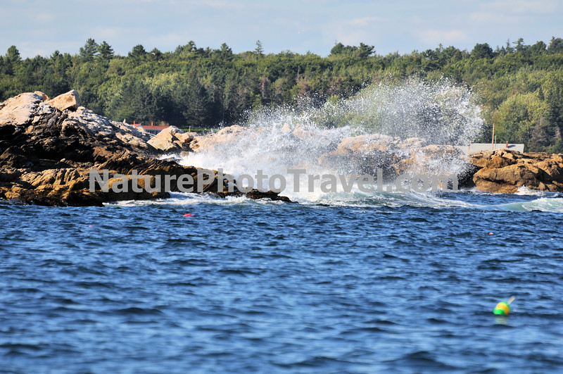 Breakers: Wave hits the rocky coast of Maine. Note lobster pot buoys in water.