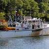 Maine Lobster Boat w/ Stack of Pots. New Harbor, ME