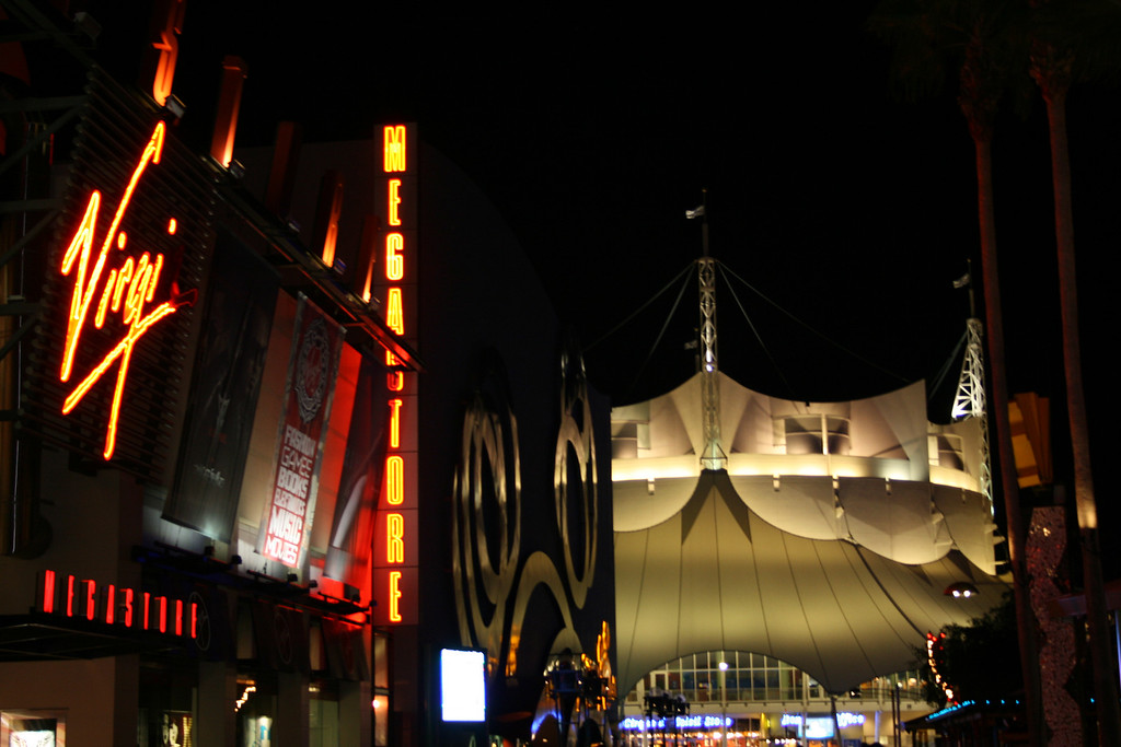 This is looking down the main drag of Downtown Disney towared the huge simulated tent of Cirque du Soleil. Notice the Virgin Megastore on the left.