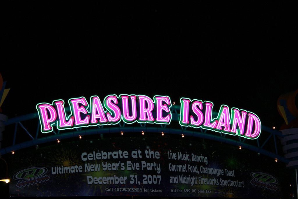 A closer shot of the Pleasure Island sign