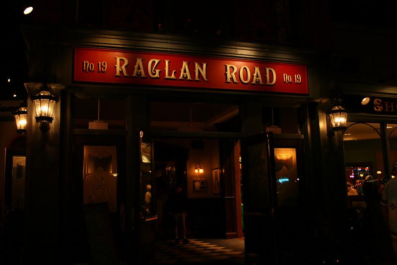 The front of the Raglan Road Irish Pub in Pleasure Island.