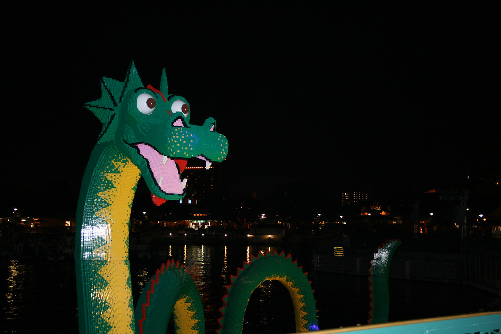 This is a serpent, located in the Pleasure Island Lagoon, made entirely out of Legos