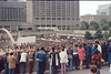 View of Nathan Philips Square from second level of City Hall exterior Toronto Aug 72