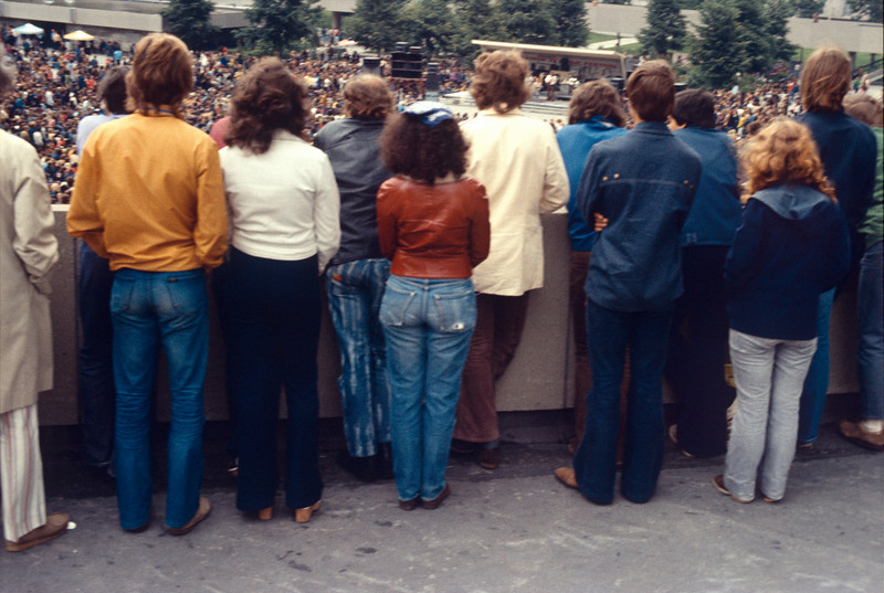People on upper level of City Hall looking down on Nathan Philips Square Toronto Aug 72