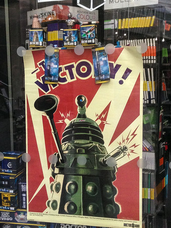Dr. Who Dalek poster. Kings Cross Station.  UK Vacation 2014-07-07