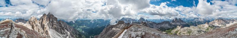 Die Seltener Dolomiten im 360°-Panorama von der Schusterplatte aus gesehen
