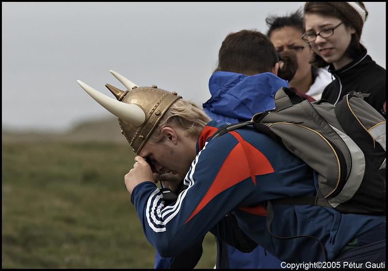 A birdwatching viking.<br /> At Ingólfshöfði headland on June 10.