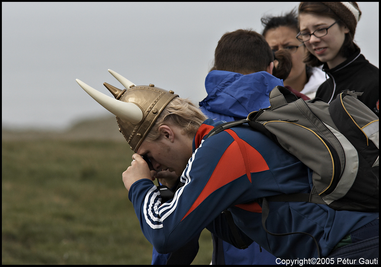 A birdwatching viking.<br /> At Ingólfshöfði headland on June 10.