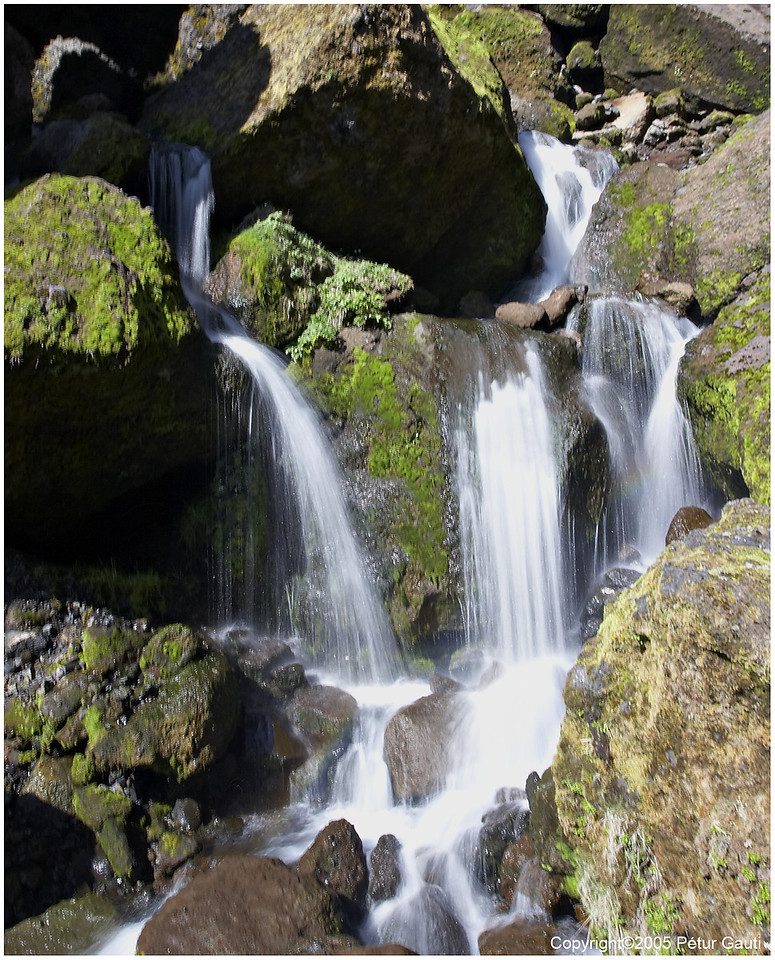 First of several waterfalls in the Bæjargil canyon at Hof