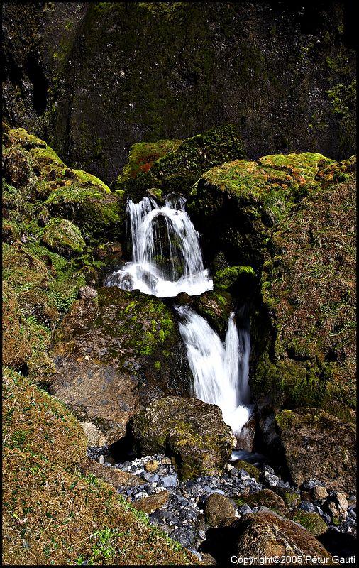 Hey, I found a waterfall!  At the Bæjargil canyon at Hof