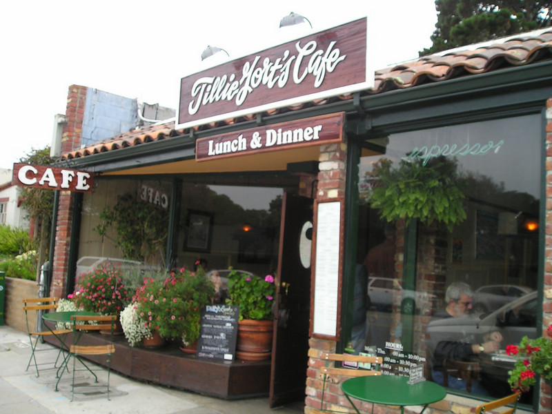Tillie Gorts. Voted the best place in Monterey for vegetarian meals, for low-fat dining, for healthy dining, or all of the above pretty much every year for the last 20 years or so. They also have nonvegan foods. I had a tasty Mediterranean Platter with dolmas, hummus, like that. And enough for tomorrow's lunch, too.