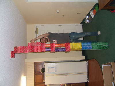 Christian finishing his tower.