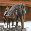 Bronze sculpture, downtown DuBois, WY, 11/25/2014.