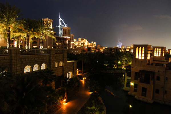 A view of the Burj Al Arab from the Madinat Jumeirah.