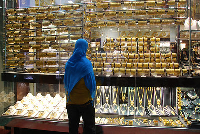Window shopping in the gold souq.