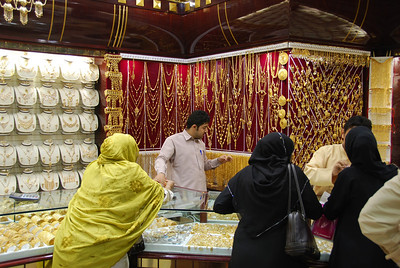 Gold souq in Dubai.  Many local ladies have their jewellery melted down every couple of years and remolded into different styles.