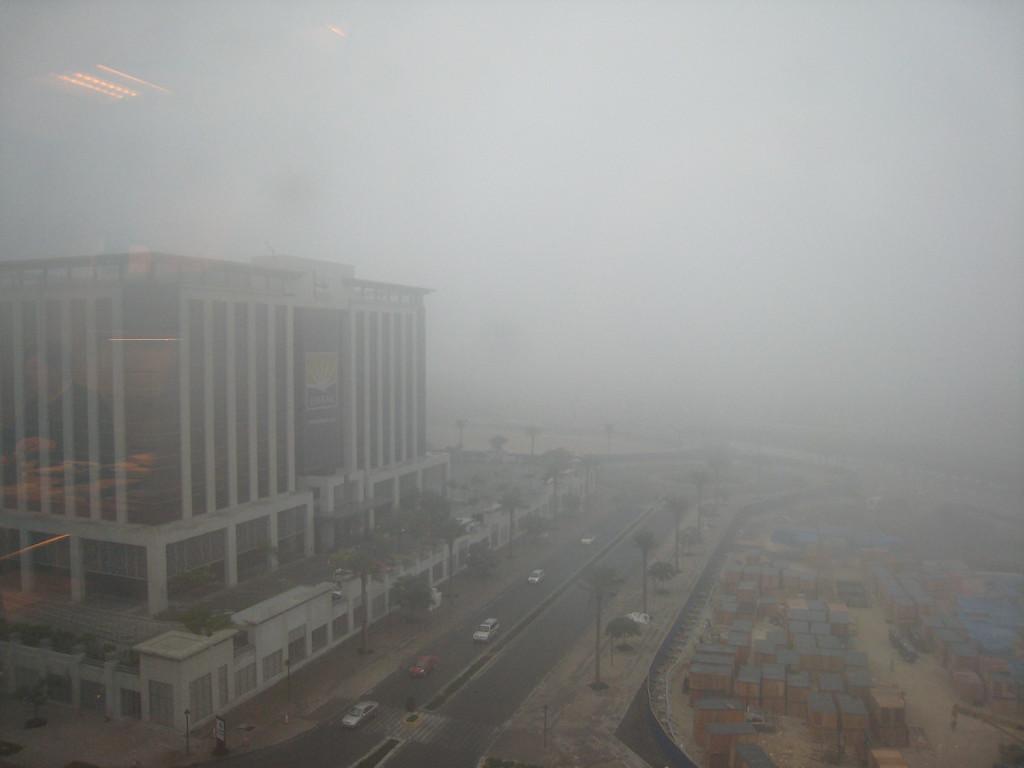 Fog over the office buildings near the Burj Dubai.