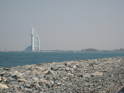 The Burj al Arab taken from the end of the Palm Jumeirah.