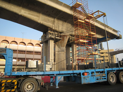 The track for the Metro system being built along Trade Centre Road in Dubai.