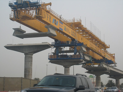 A launching gantry, part of the construction of the Dubai metro line.
