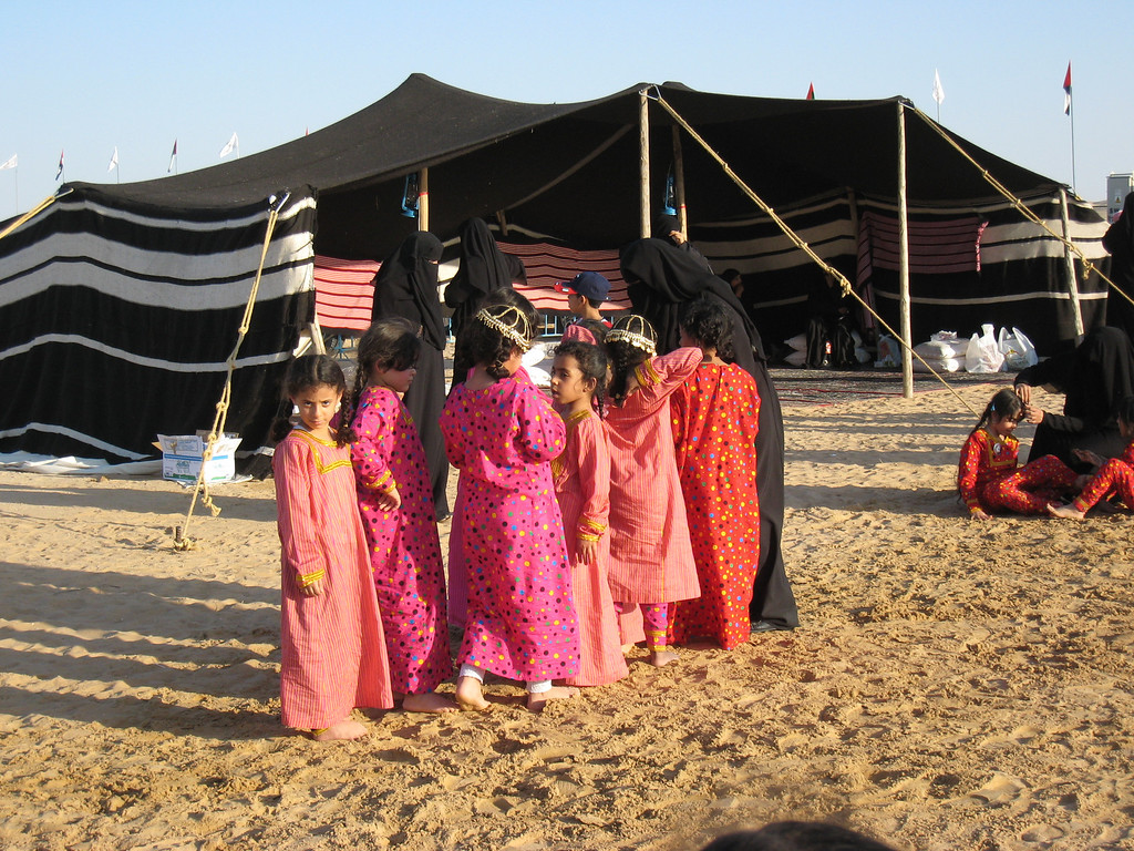 Sweihan camal races: Girls preparing to dance