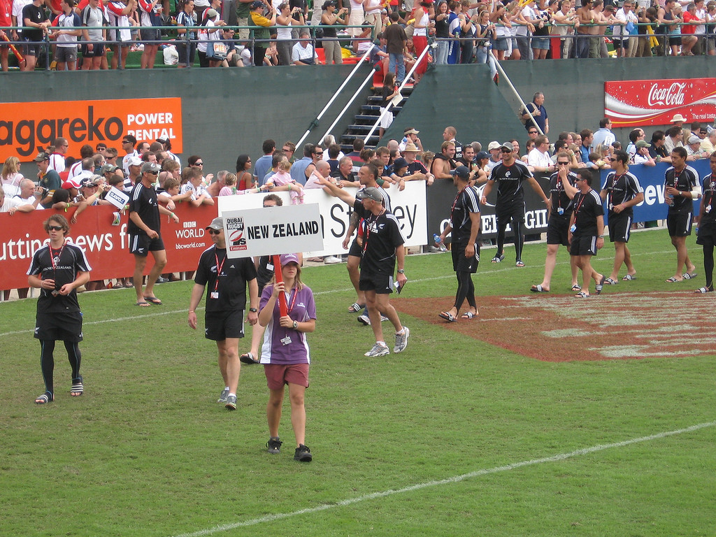 The NZ team during the Dubai Rugby 7s.