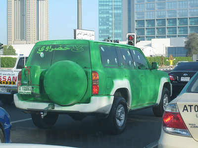 A Nissan Patrol decked out in green by an Al Shabab Football Club fan leaving no doubt where his support lies.  Al Shabab (The Slashers) won the Etisalat UAE league (soccer) earlier this month.