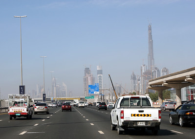 Sheikh Zayed Road, Dubai.  On the right is the Burg Dubai Tower and elevated metro railway under construction.