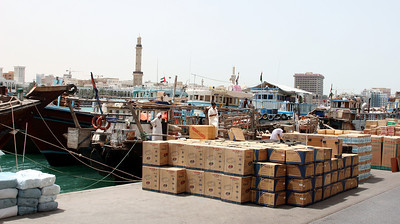 Dhows and cargo on Dubai Creek.