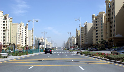 Apartment buildings on the main road onto Palm Jumeirah.