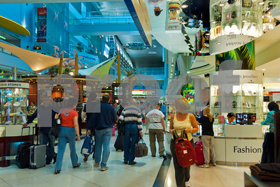 Dubai, United Arab Emirates- Airport Shopping Mall, People Shopping inside Modern Shopping Center
