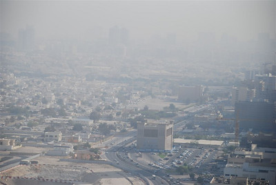 Looking North towards Diyafah Street.  The 'castley' building in middle of the photo is the Tabreed district cooling plant.