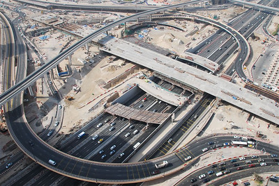 Looking down on Sheikh Zayed Road and what used to be Defence Roundabout.