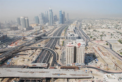 Sheikh Zayed Road...jokingly called 'the road with no beginning and no end'....heading south towards Abu Dhabi.