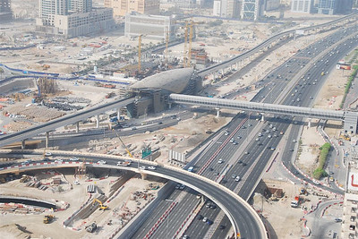 One of the 'space age' stations for the Dubai metro.  The metro system is expected to open on 9-9-09.