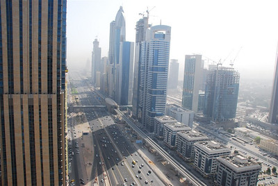 The Shangri-La hotel on the left, Sheikh Zayed Road and in the middle, one of the new Metro stations.
