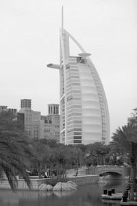View of Burj Al Arab Hotel from the Souk Madinat, a re-creation of a Middle Eastern marketplace.