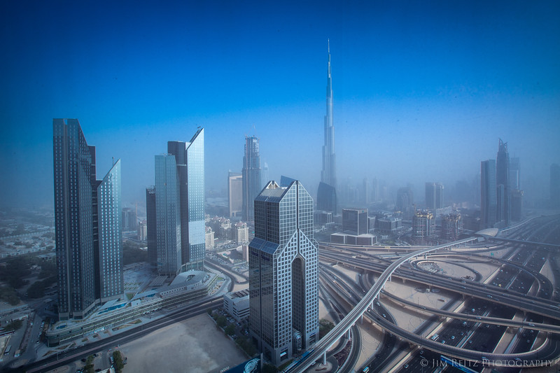 Dust & sand clouds the air in this view of Dubai.