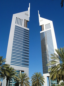 Emirates Tower Dubai on a clear mid-afternoon.